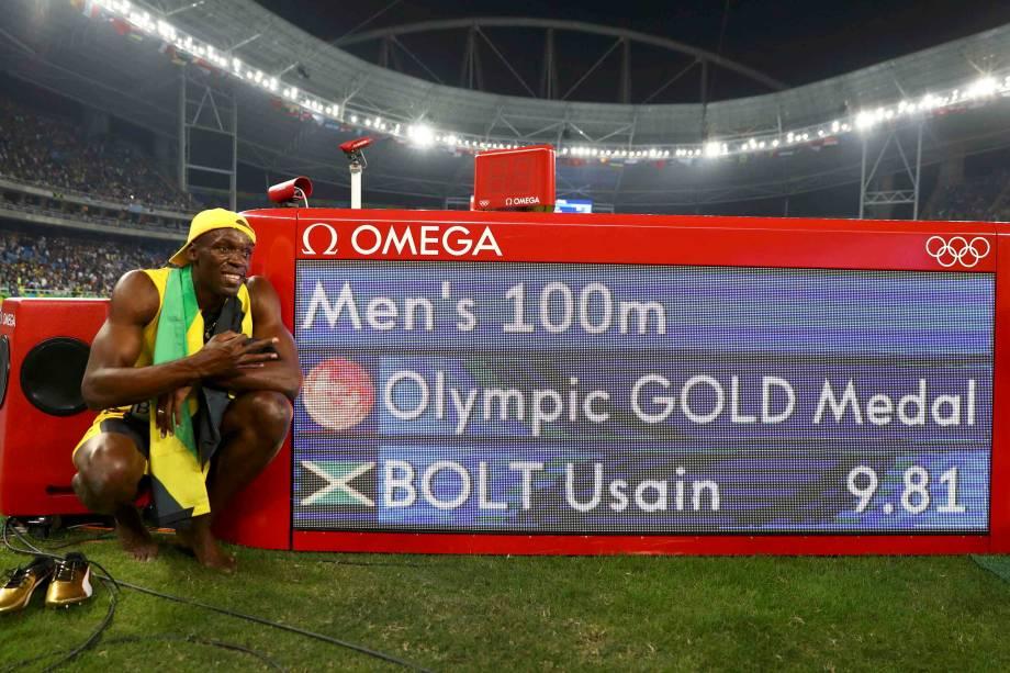 O jamaicano Usain Bolt conquista o tri olímpico dos 100m rasos na Rio-2016