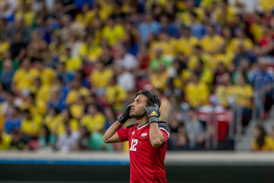 O goleiro iraquiano Hameed na partida contra o Brasil no Estádio Nacional Mané Garrincha, em Brasília