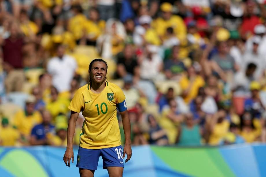 Marta durante partida contra a Suécia, na semifinal do futebol feminino no estádio do Maracanã