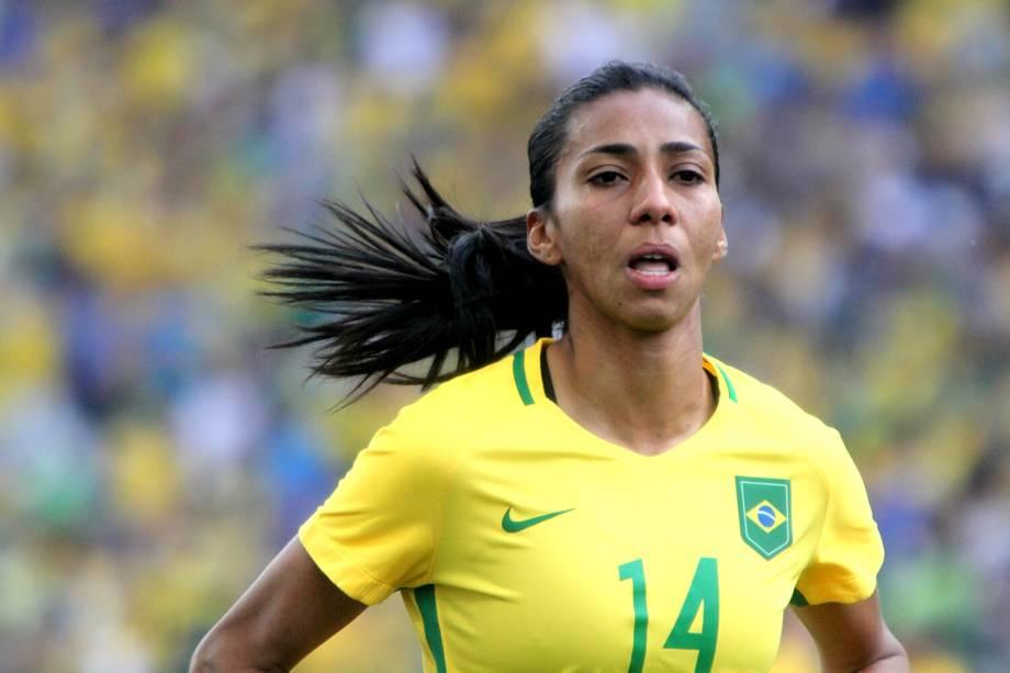 A jogadora Bruna Benites durante partida entre Brasil e Canadá, válida pela disputa da medalha de bronze, realizada na Arena Corinthians, zona leste de São Paulo (SP) - 19/08/2016