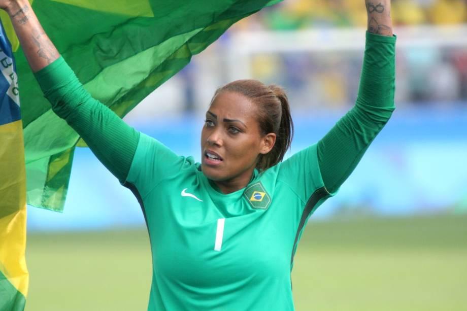 A goleira Bárbara durante partida entre Brasil e Canadá, válida pela disputa da medalha de bronze, realizada na Arena Corinthians, zona leste de São Paulo (SP) - 19/08/2016
