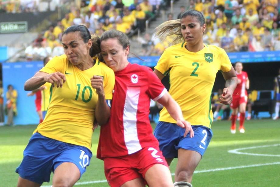 A jogadora Marta durante partida entre Brasil e Canadá, válida pela disputa da medalha de bronze, realizada na Arena Corinthians, zona leste de São Paulo (SP) - 19/08/2016