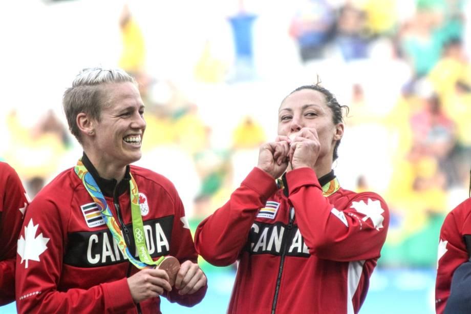 Canadenses conquistam a medalha de bronze, após derrotarem o Brasil por 2 a 1, em partida realizada na Arena Corinthians, zona leste de São Paulo (SP) - 19/08/2016