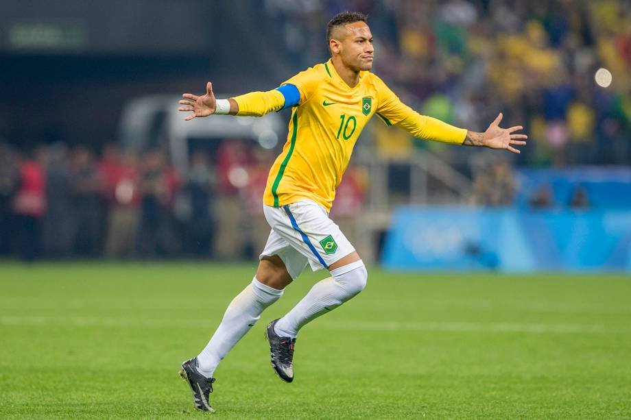 O jogador Neymar, comemora gol durante partida entre Brasil e Colômbia, válida pelas quartas-de-final do futebol masculino, realizada na Arena Corinthians, em Itaquera, zona leste de São Paulo (SP) - 13/08/2016