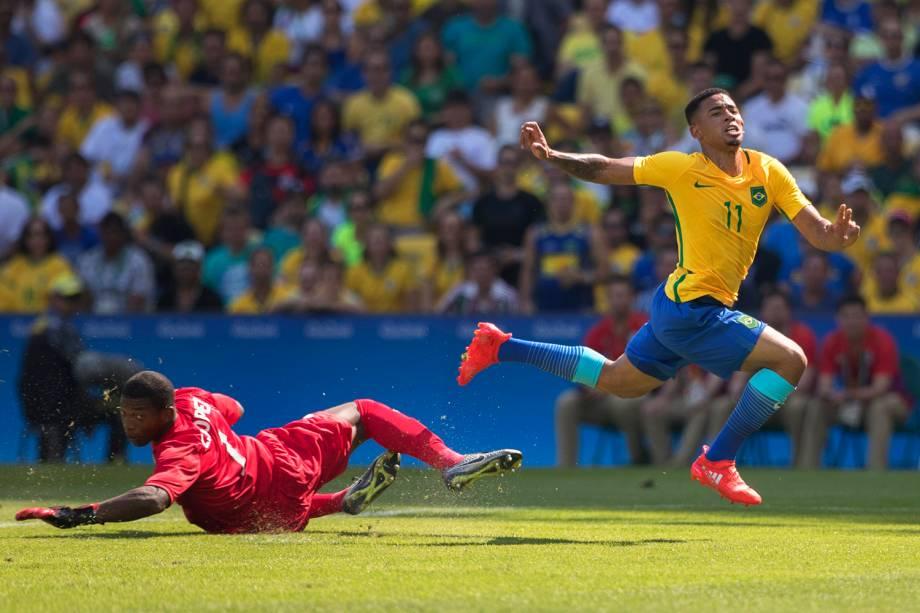 O jogador Gabriel Jesus durante partida entre Brasil e Honduras, válida pelas semifinais do torneio olímpico de futebol masculino, realizada no Estádio do Maracanã - 17/08/2016