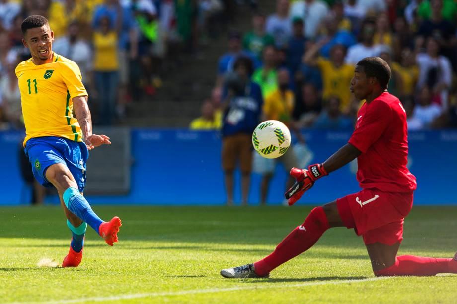Gabriel Jesus durante partida entre Brasil e Honduras, válida pelas semifinais do torneio olímpico de futebol masculino, realizada no Estádio do Maracanã - 17/08/2016