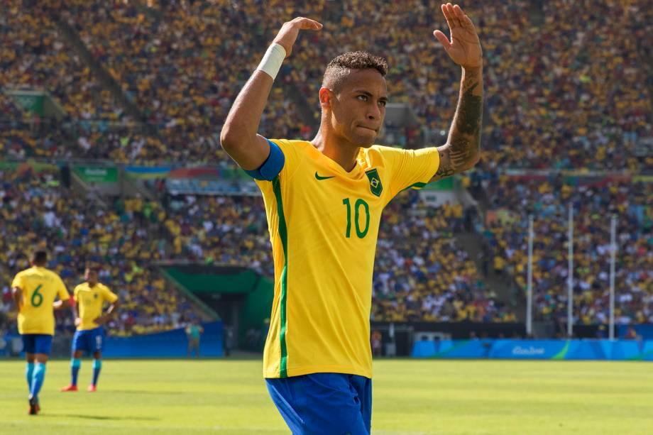 O jogador Neymar durante partida entre Brasil e Honduras, válida pelas semifinais do torneio olímpico de futebol masculino, realizada no Estádio do Maracanã - 17/08/2016