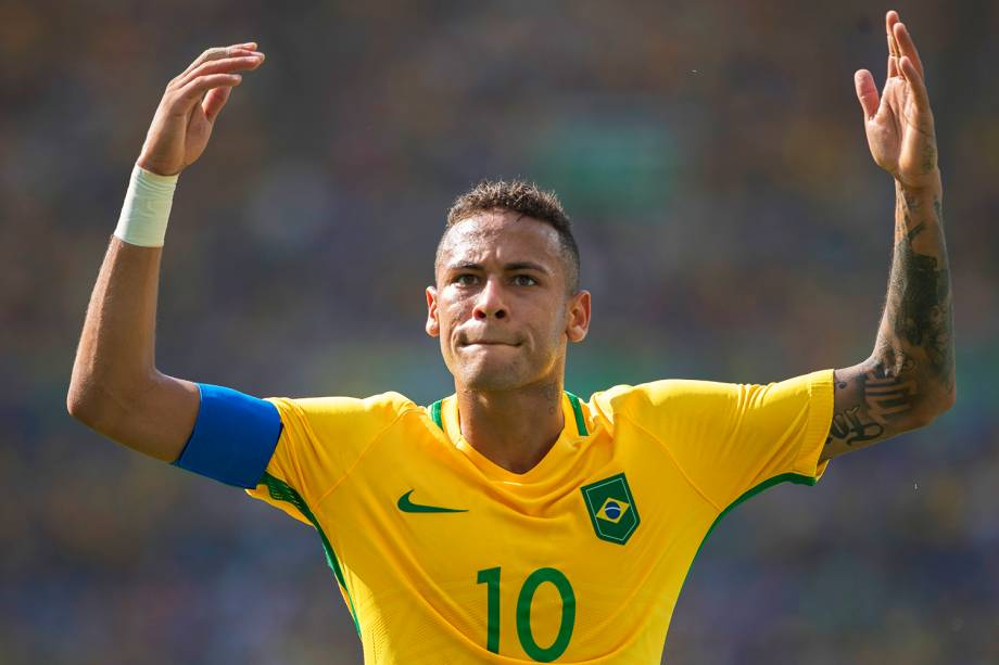 O jogador Neymar comemora gol durante partida entre Brasil e Honduras, válida pelas semifinais do torneio olímpico de futebol masculino, realizada no Estádio do Maracanã - 17/08/2016