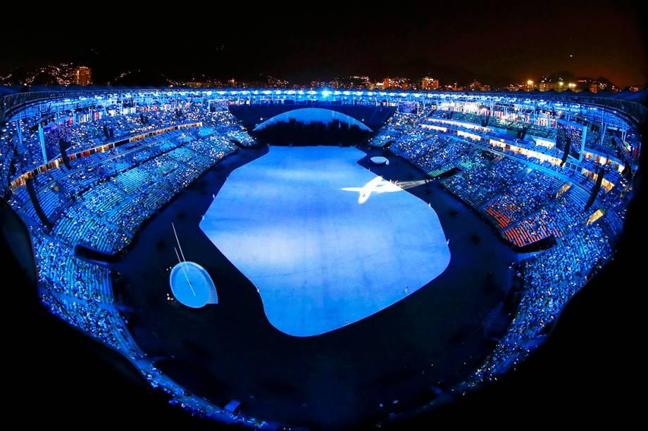 Estádio do Maracanã, minutos antes da cerimônia de abertura dos Jogos Olímpicos Rio-2016 - 05/08/2016