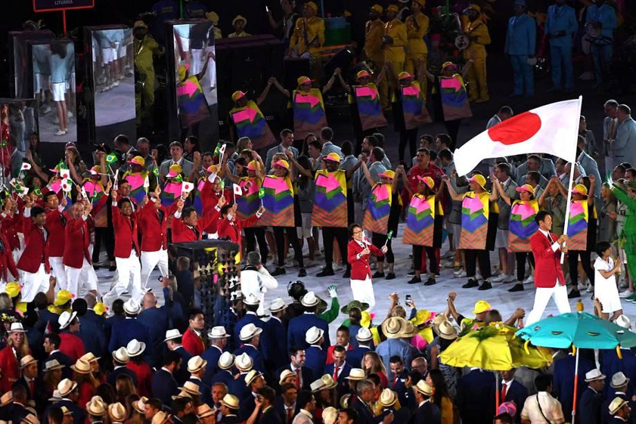 Delegação do Japão durante a cerimônia de abertura dos Jogos Olímpicos Rio 2016, no estádio do Maracanã