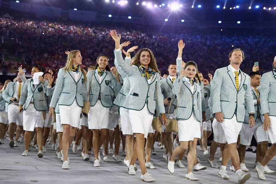 Delegação da Austrália durante a cerimônia de abertura dos Jogos Olímpicos Rio 2016, no estádio do Maracanã