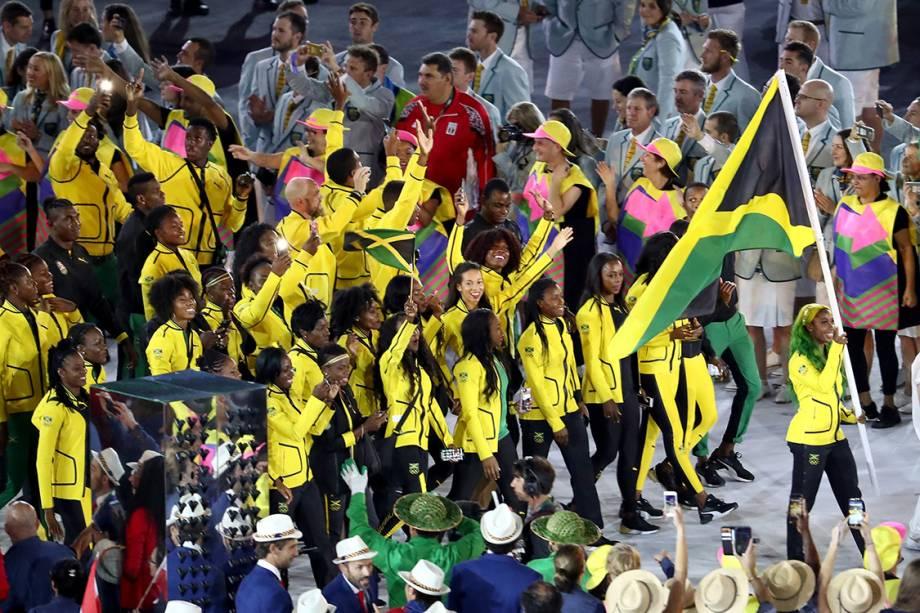 Delegação da Jamaica durante a cerimônia de abertura dos Jogos Olímpicos Rio 2016, no estádio do Maracanã