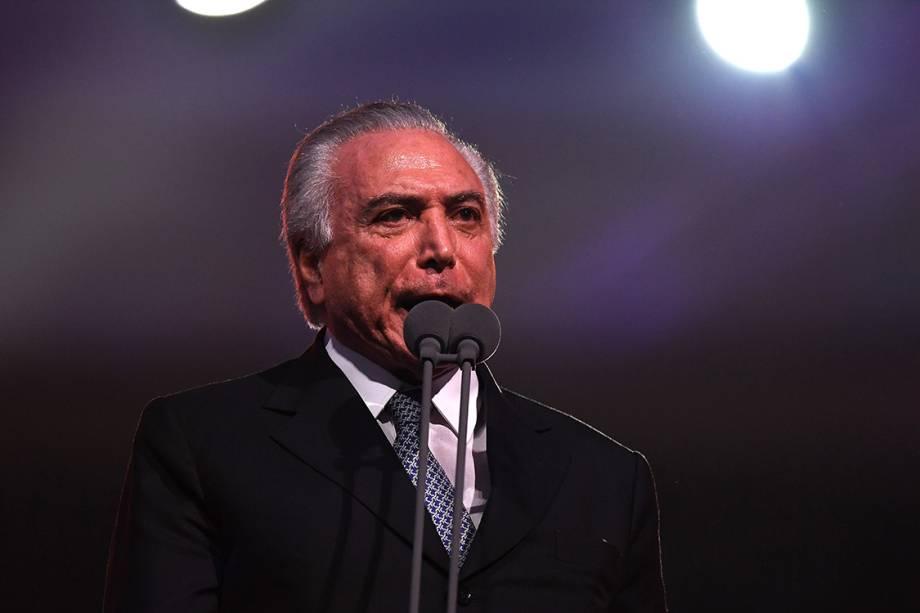 O presidente da República em exercício, Michel Temer durante a cerimônia de abertura dos Jogos Olímpicos Rio-2016, no estádio do Maracanã