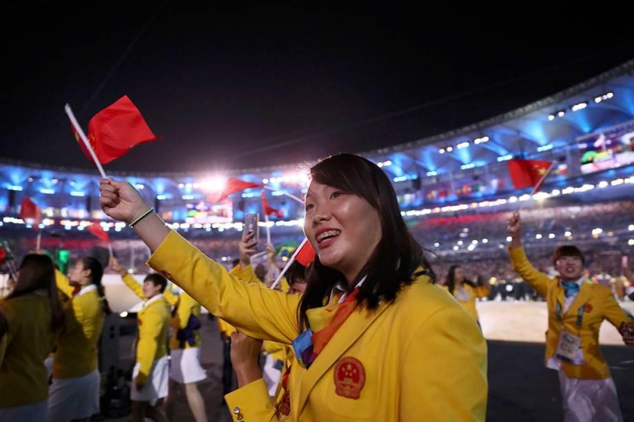 Delegação da China durante a cerimônia de abertura dos Jogos Olímpicos Rio 2016, no estádio do Maracanã