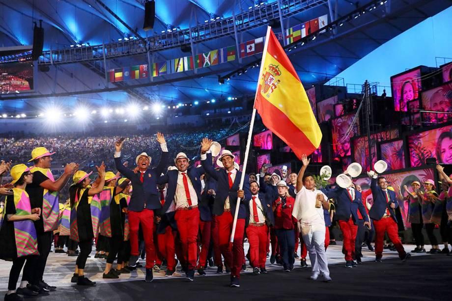 Delegação da Espanha durante a cerimônia de abertura dos Jogos Olímpicos Rio 2016, no estádio do Maracanã