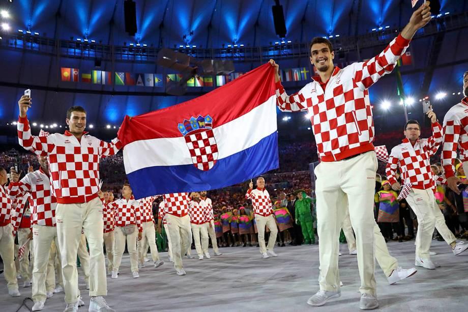 Delegação da Croácia durante a cerimônia de abertura dos Jogos Olímpicos Rio 2016, no estádio do Maracanã