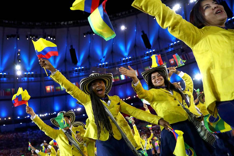 Delegação do Colômbia durante a cerimônia de abertura dos Jogos Olímpicos Rio 2016, no estádio do Maracanã