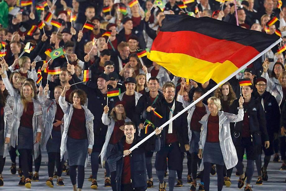 Delegação da Alemanha durante a cerimônia de abertura dos Jogos Olímpicos Rio 2016, no estádio do Maracanã