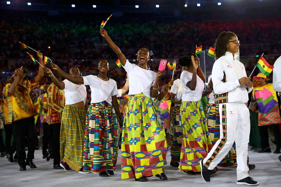 Delegação de Gana durante a cerimônia de abertura dos Jogos Olímpicos Rio 2016, no estádio do Maracanã
