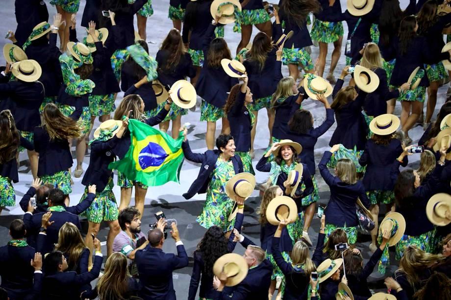 Delegação do Brasil durante a cerimônia de abertura dos Jogos Olímpicos Rio 2016, no estádio do Maracanã