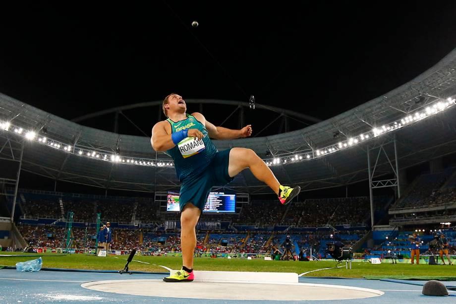 O atleta brasileiro Darlan Romani durante a final do arremesso de martelo