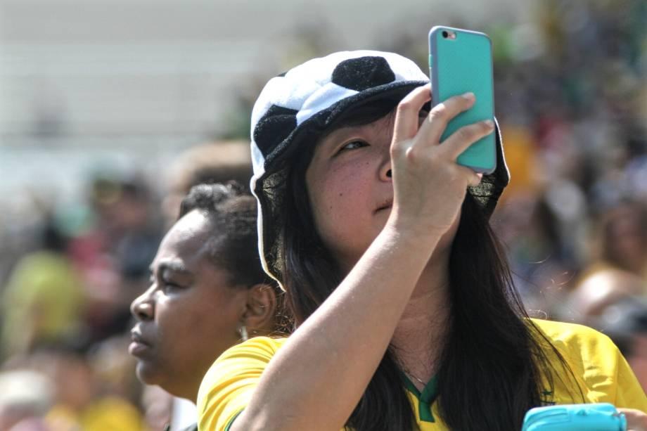 Torcedora durante partida entre Brasil e Canadá, válida pela disputa da medalha de bronze, realizada na Arena Corinthians, zona leste de São Paulo (SP) - 19/08/2016