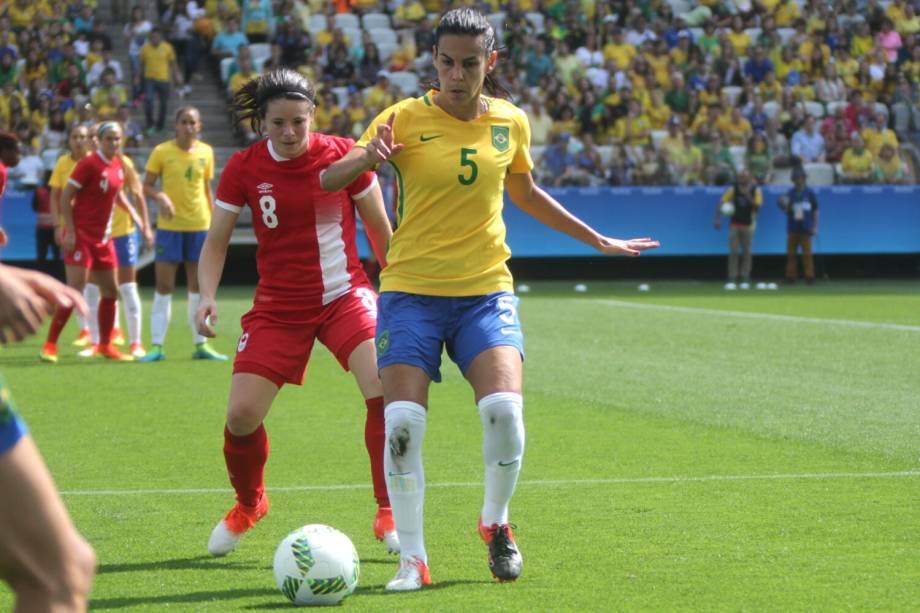 A jogadora Thaisa, durante partida entre Brasil e Canadá, válida pela disputa da medalha de bronze, realizada na Arena Corinthians, zona leste de São Paulo (SP) - 19/08/2016