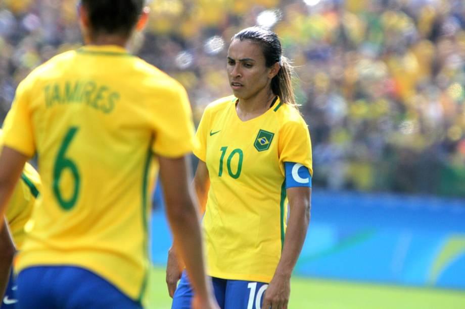 A jogadora Marta, durante partida entre Brasil e Canadá, válida pela disputa da medalha de bronze, realizada na Arena Corinthians, zona leste de São Paulo (SP) - 19/08/2016