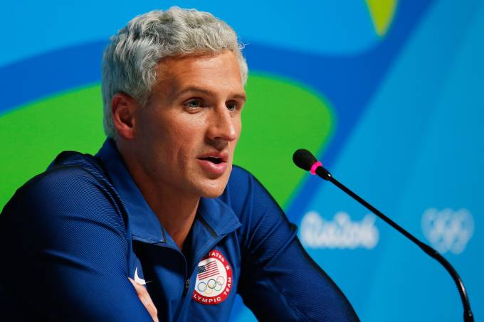O nadador americano Ryan Lochte em entrevista coletiva durante a Rio-2016