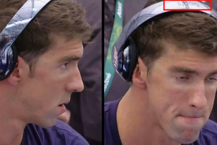 O nadadora americano Michael Phelps, com fones de ouvido da marca 'Beats'
