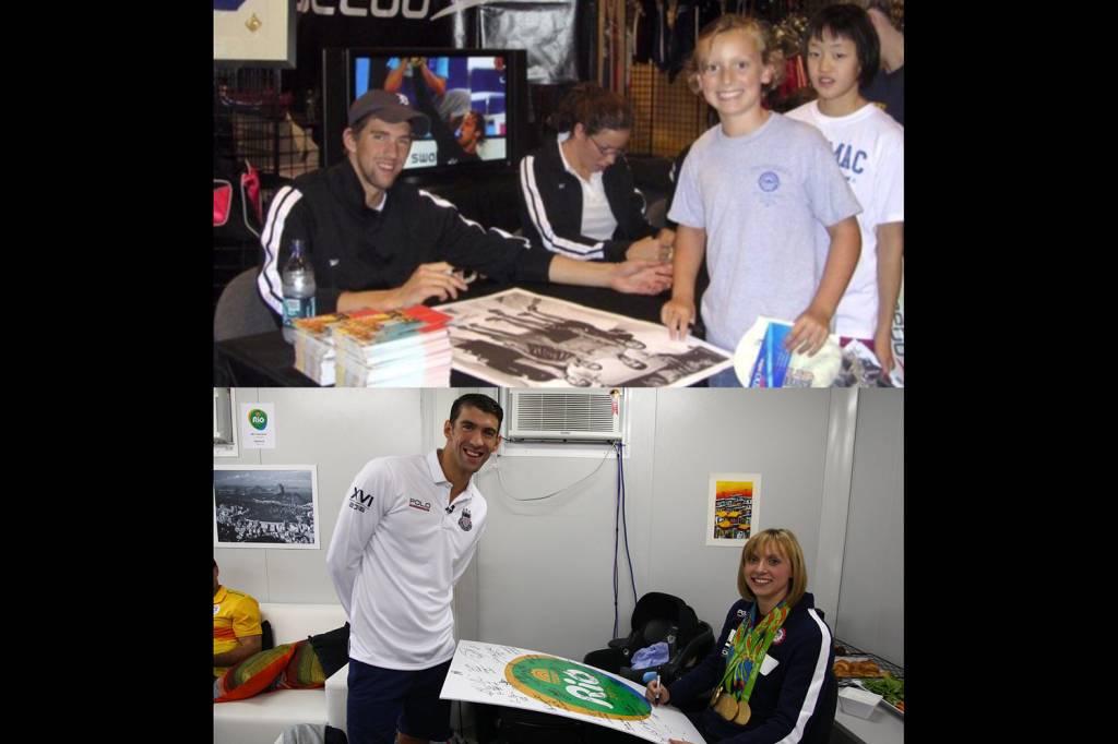 O nadador americano Michael Phelps pede autógrafo de Katie Ledecky