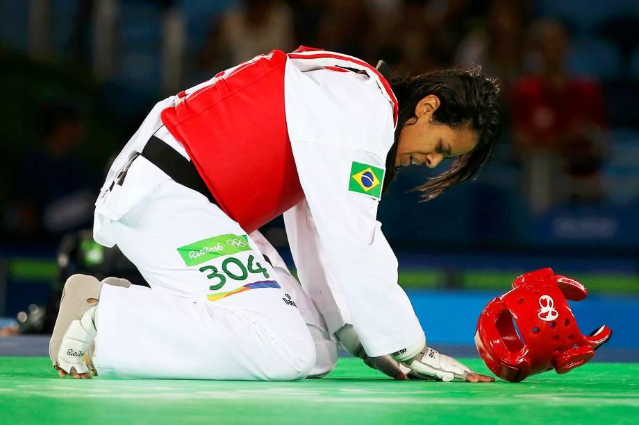 A atleta brasileira Julia Vasconcelos é derrotada pela finlandesa Suvi Mikkonen, nas eliminatórias do taekwondo feminino, categoria 57kg, na Arena Carioca 3 - 18/08/2016