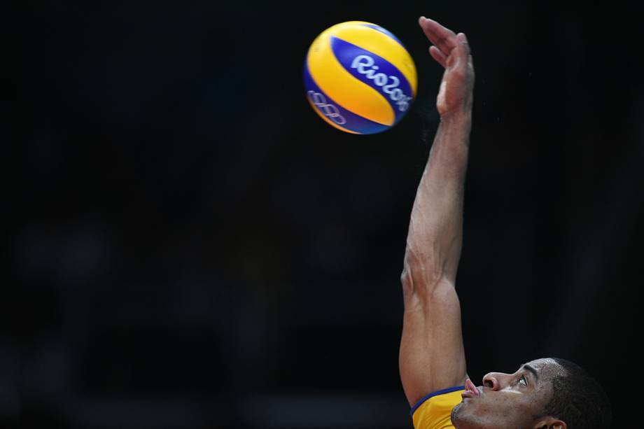 O jogador Lucarelli durante partida entre Brasil e Itália, válida pela disputa da medalha de ouro, realizada no Maracanãzinho - 21/08/2016