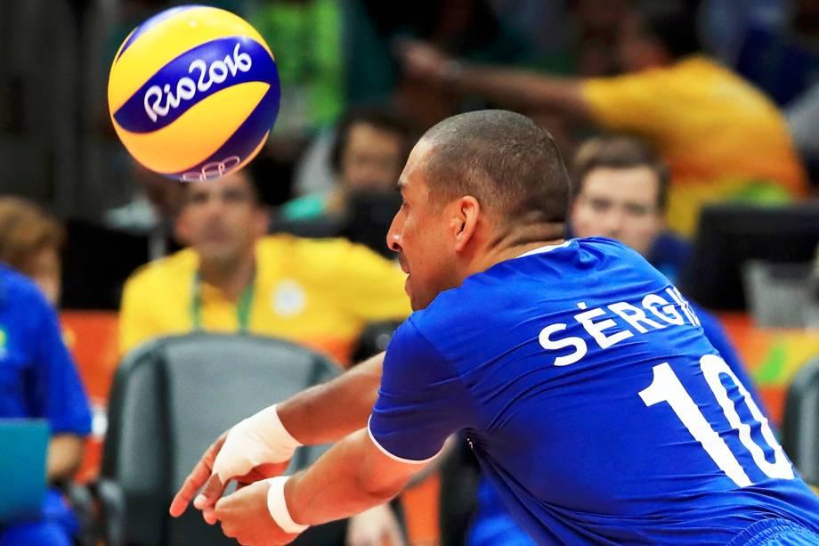 O jogador Serginho durante partida entre Brasil e Itália, válida pela disputa da medalha de ouro no vôlei masculino, realizada no Maracanãzinho - 21/08/2016