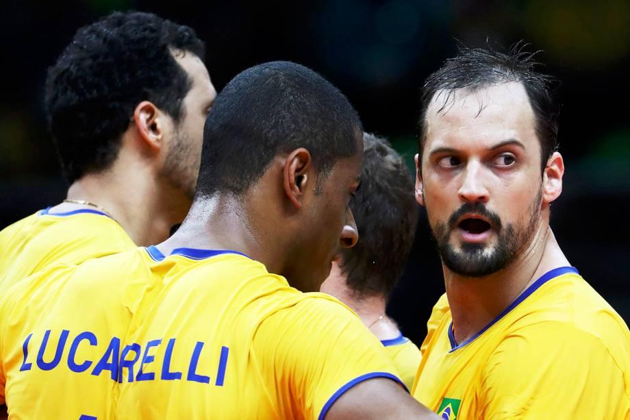 O jogador Lipe durante partida entre Brasil e Itália, válida pela disputa da medalha de ouro no vôlei masculino, realizada no Maracanãzinho - 21/08/2016
