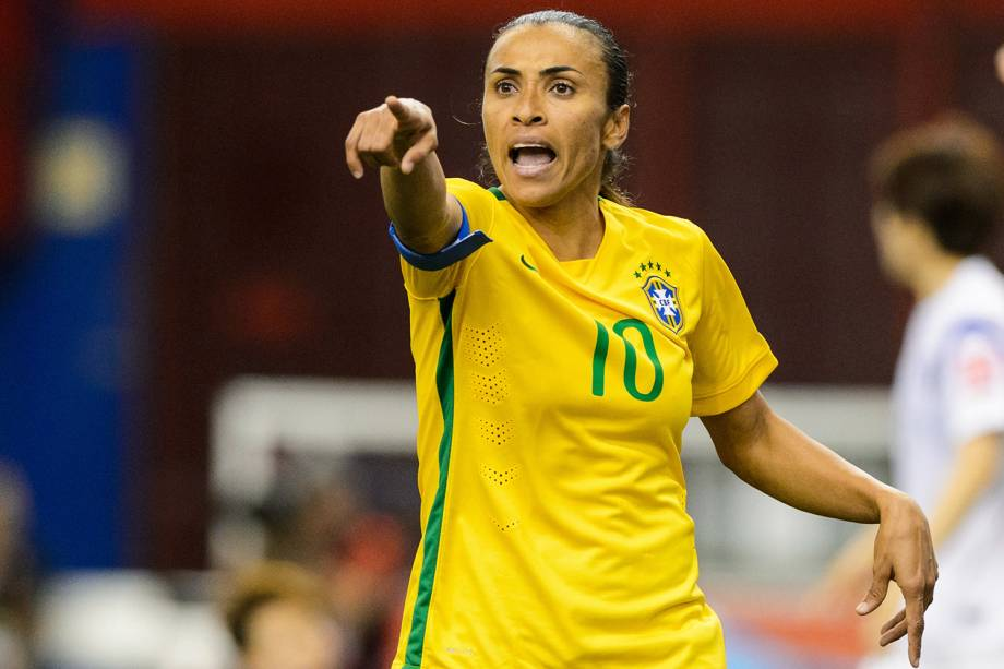 A brasileira Marta, durante partida da seleção feminina de futebol, contra a Coreia do Sul, na Copa do Mundo em Montreal, no Canadá - 09/06/2015