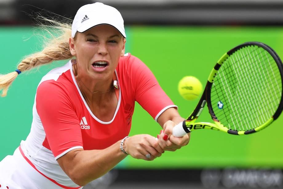 A tenista dinamarquesa Caroline Wozniacki, durante partida contra a checa Petra Kvitova, durante a segunda rodada do torneio de tênis de quadra feminino - 08/08/2016