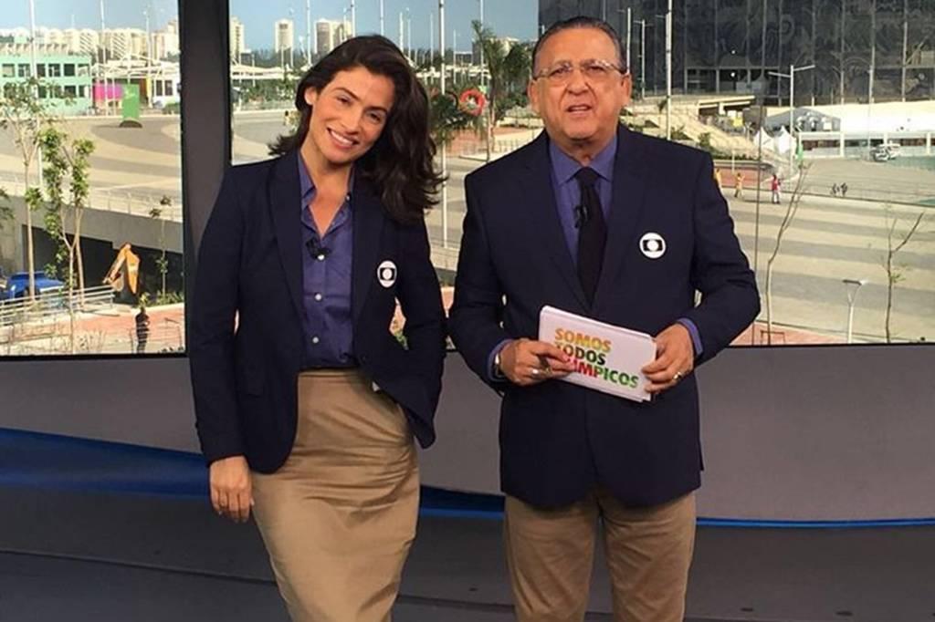 Renata Vasconcellos e Galvão Bueno nos estúdios da Globo na Rio 2016
