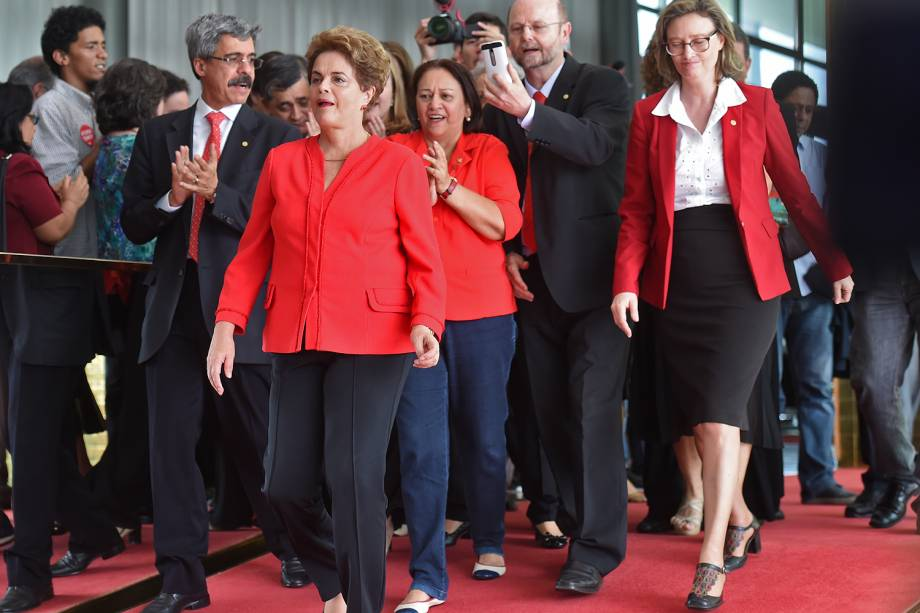 A ex-presidente Dilma Rousseff (PT) durante pronunciamento à imprensa no Palácio da Alvorada, residência oficial, em Brasília (DF) - 31/08/2016