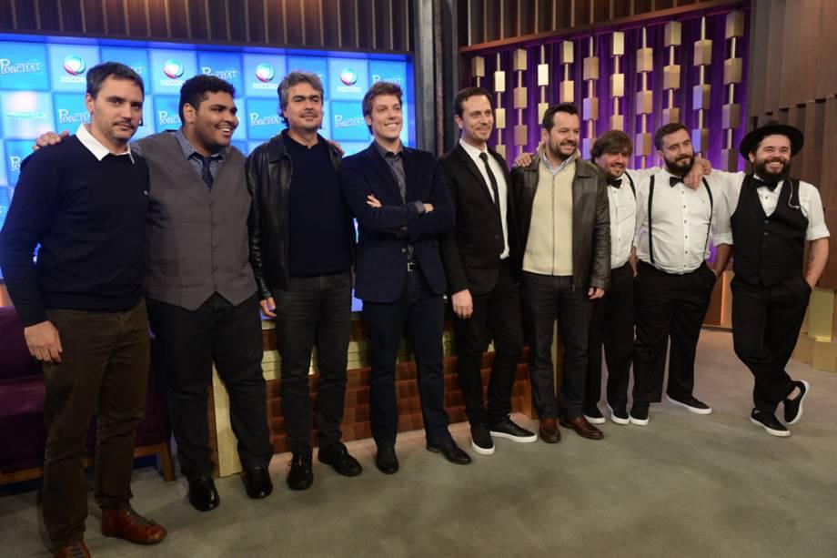Fábio Porchat recebe convidados no seu estúdio da Record durante coletiva de imprensa de seu novo programa de TV