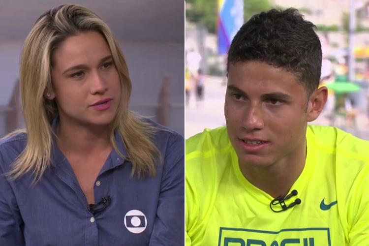 Fernanda Gentil entrevista Thiago Braz no 'Globo Esporte'