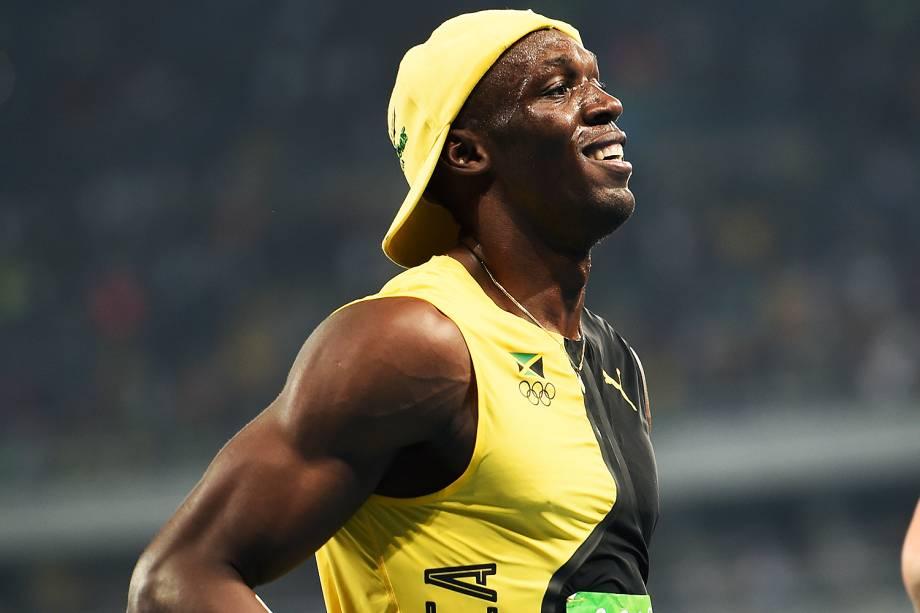 Usain Bolt comemora a conquista do tri olímpico nos 100m rasos