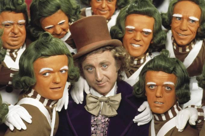 """Gene Wilder no filme """"A Fantástica Fábrica de Chocolate"""", de Mel Stuart."""