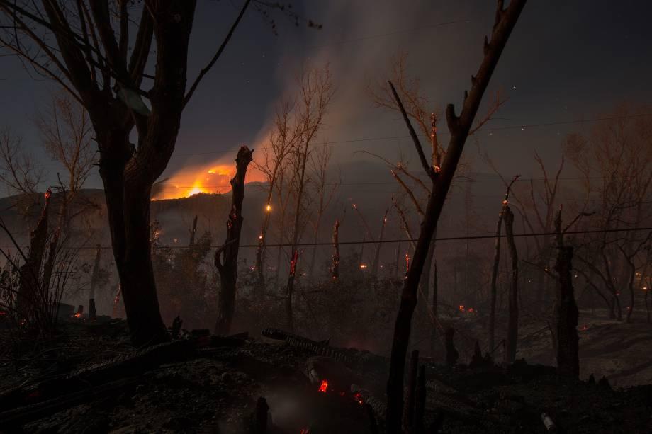 Incêndio florestal de grandes proporções que atinge o estado americano da Califórnia, nos Estados Unidos, avança em direção à cidade de Wrightwood - 17/08/2016