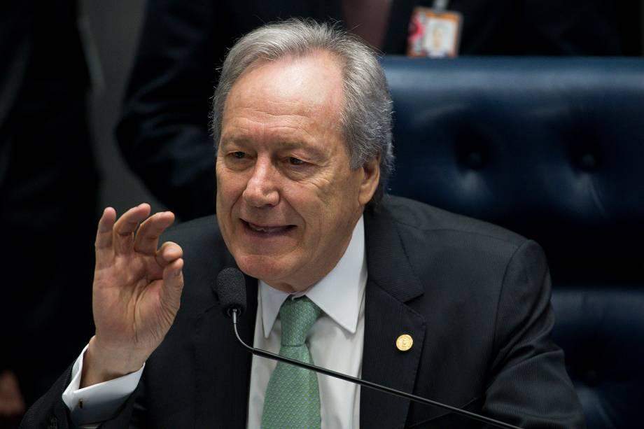 O presidente do STF ministro Ricardo Lewandowski durante sessão para votação do julgamento final do processo de impeachment da presidente afastada Dilma Rousseff, no plenário do Senado -25/08/2016