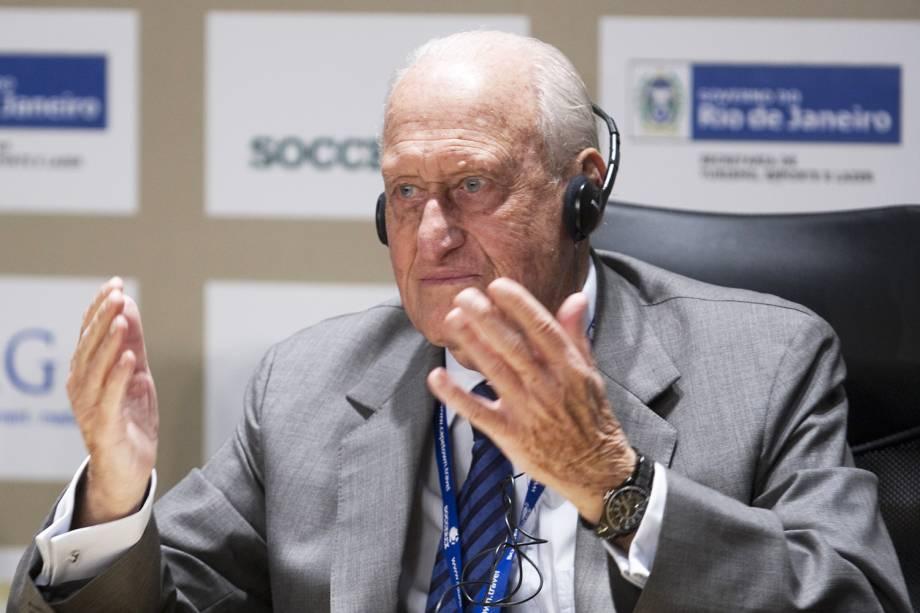 João Havelange, presidente de honra da Fifa, durante a Soccerex, feira de negócios de futebol produzida pela Dream Factory, no Rio de Janeiro (RJ)
