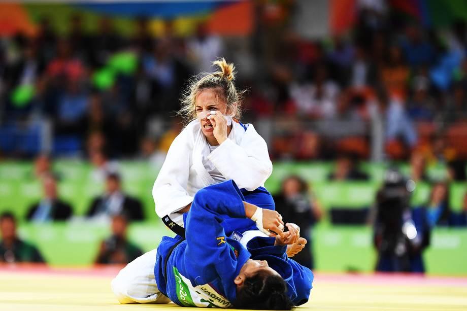 A judoca espanhola Laura Gomez, lamenta derrota contra a romena Andreea Chitu, na Arena Carioca 2 - 07/08/2016