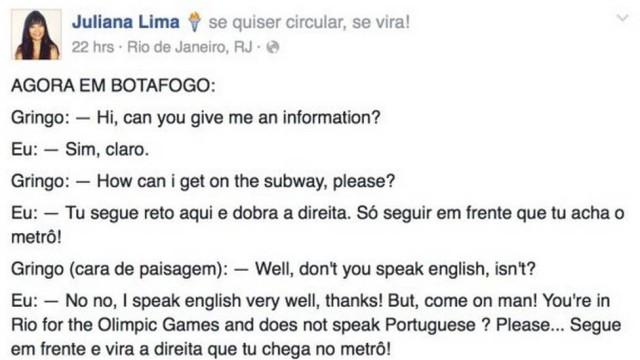 """Post em que Juliana Lima conta como """"ajudou"""" um gringo"""