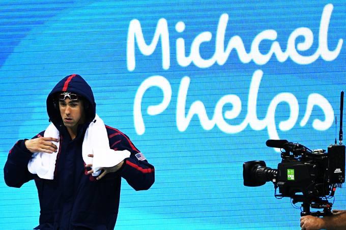 Michael Phelps durante a prova de 200m nado medley, nas Olimpíadas Rio 2016