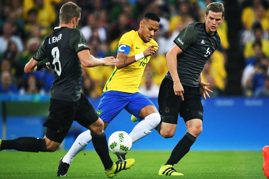 Neymar durante final contra a Alemanha, nas Olimpíadas Rio 2016